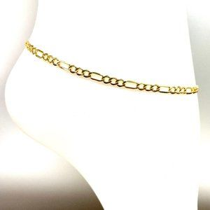 Gold High Polish Concave Figaro ANKLET BRACELET